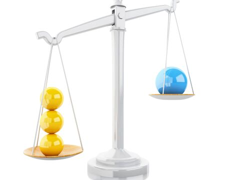 3d Illustration. Scales Balance with white spheres. Business concept. Isolated white background. Stock Photo