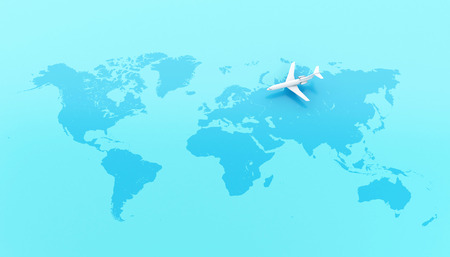 3d illustration. Traveling around the world by plane. World Travel concept.