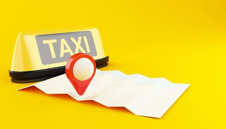 3d illustration. Yellow taxi sign and city map. Application for taxi online. Service app, transportation concept.