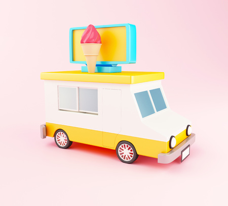 3d illustration. Ice cream food truck cartoon style on pink background. Fast food concept.