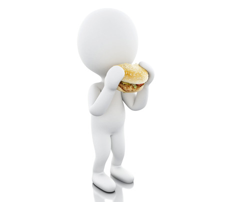 3d illustration. White people eats the big hamburger. Food concept. Isolated white background. Archivio Fotografico - 97120137