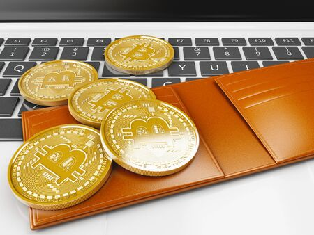3d illustration. Pile of bitcoin gold coins on a computer keyboard. Bitcoin trading concept. Stock Photo