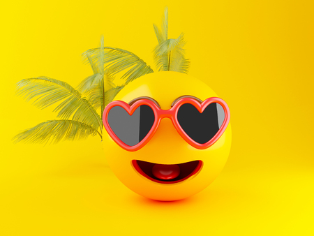 3d illustration. Emoji icons with sunglasses on yellow background. Summer concept Foto de archivo