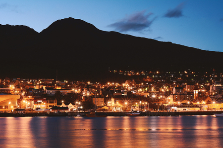 View of the city of Ushuaia at the night. Tierra del Fuego, Argentina. Editorial