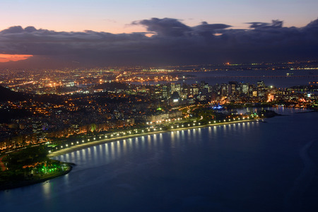 View of Rio de Janeiro, Brazil, at night. Stock Photo