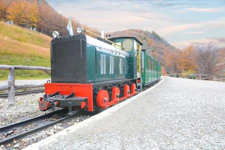 Train of The end of the world (Tren fin del Mundo) in Ushuaia, Tierra del Fuego, Argentina.