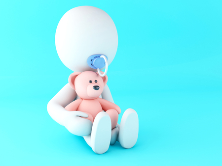 3d illustration. White people baby playing with teddy bear. Baby concept. Stock Photo