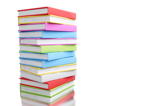 3d illustration. Colorful stack of books. Education concept. Isolated white background. Stock Photo