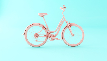 3d illustration. Pink bicycle on blue background. Sports concept.