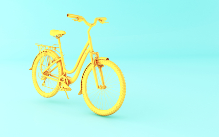 3d illustration. Yellow bicycle on blue background. Sports concept.
