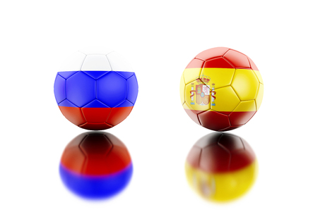 3d illustration. Soccer balls with Spain and Russia flags. Sports concept. Isolated white background.