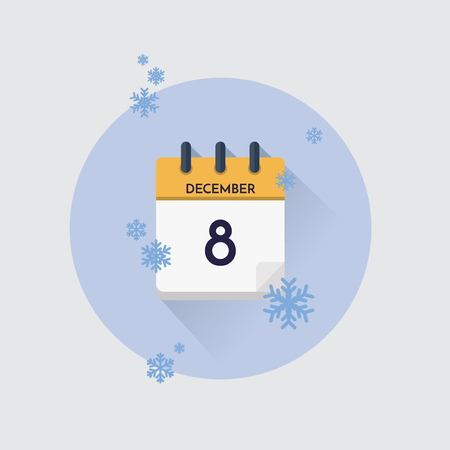 Vector illustration. Day calendar with date  December 8 and snowflakes. Winter month.