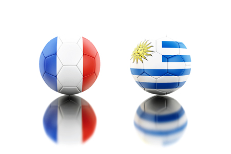 3d illustration. Soccer balls with France and Uruguay flags. Sports concept. Isolated white background.