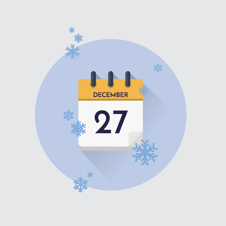Vector illustration. Day calendar with date  December 27 and snowflakes. Winter month. Illustration