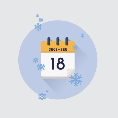 Vector illustration. Day calendar with date  December 18 and snowflakes. Winter month.