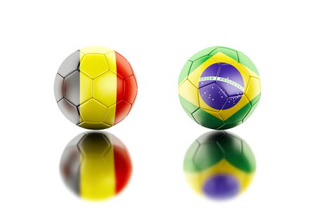 3d illustration. Soccer balls with Belgium and Brazil flags. Sports concept. Isolated white background.