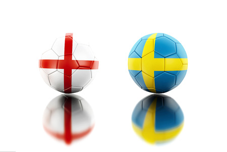 3d illustration. Soccer balls with Sweden and England flags. Sports concept. Isolated white background.