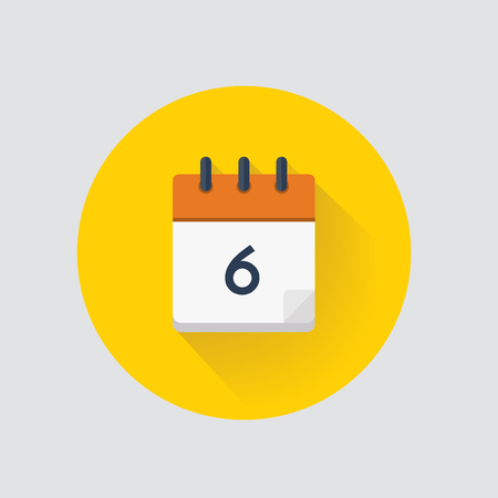 Vector illustration. Calendar day 6. Calendar icon.