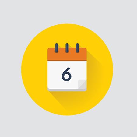 Vector illustration. Calendar day 6. Calendar icon. Standard-Bild - 115071454