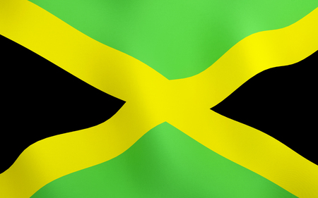 3D illustration. Flag of Jamaica waving in the wind.