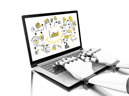 3d illustration. Robotic hands typing on a laptop with business sketch. Business concept. Isolated white background