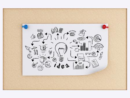 3d illustration. notes wth business sketch over cork board.