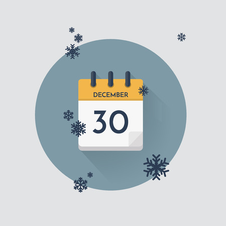 Vector illustration. Day calendar with date  December 30 and snowflakes. Winter month.