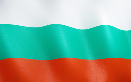 3D illustration. Flag of Bulgaria waving in the wind.