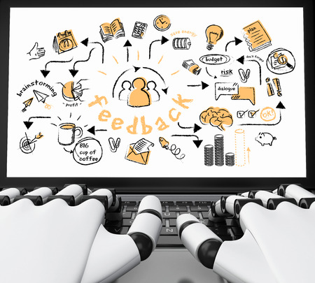 3d illustration. Robotic hands typing on a laptop with business sketch. Business concept.