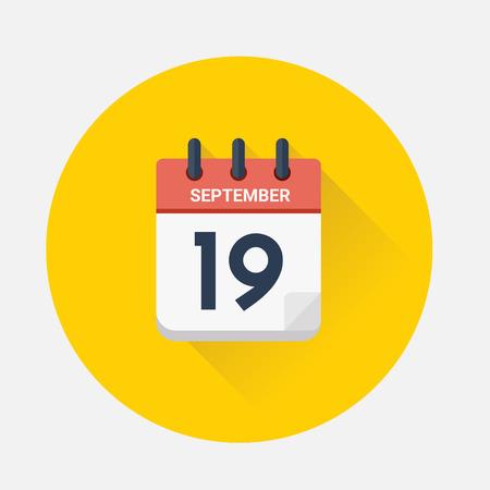 Vector illustration. Day calendar with date September 19, 2018. Yom Kippur concept