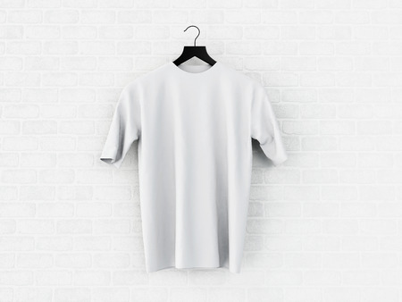 3d illustration. Hanger with empty white t-shirt hanging on brick wall. Mockup concept.
