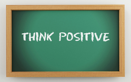 3d illustration. Green chalkboard. Think positive, motivational concept.