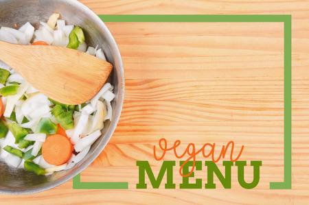 Salad with rectangle frame border of Vegan Menu card. Healthy eating concept