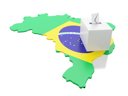 3d illustration. Brazil map with Ballot box. Elections 2018. Brazil voting concept.