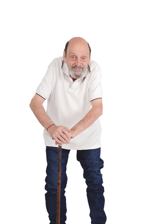 Portrait of smiling senior man with a cane. Isolated white background