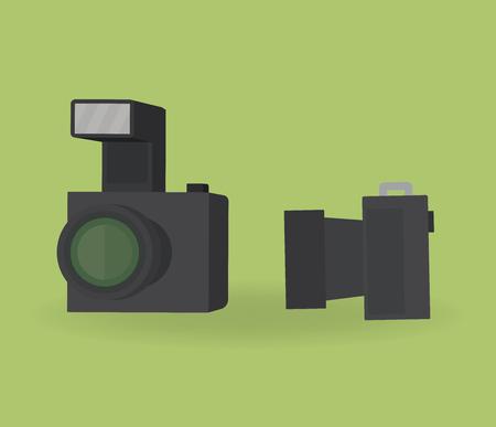 Vector illustration. Professional cameras on green background. Ilustrace