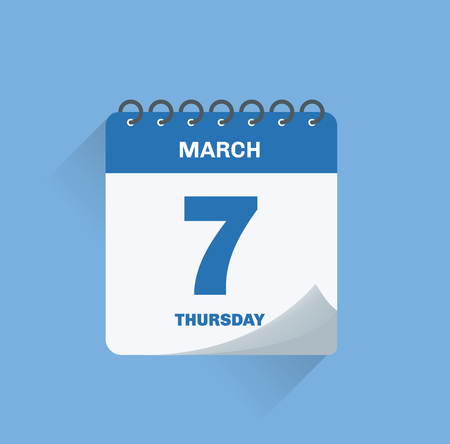 Vector illustration. Day calendar with date March 7.