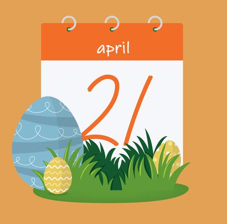 Vector illustration. Easter day, calendar. 21th April