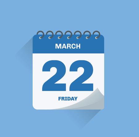 Illustration vectorielle. Calendrier de jour avec date le 22 mars.