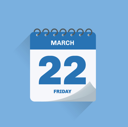 Vector illustration. Day calendar with date March 22.