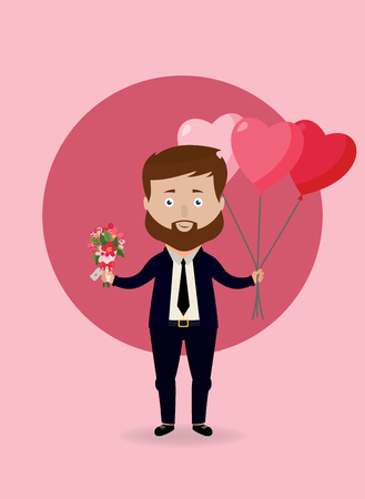 Vector illustration. Man with heart balloons and flowers. Valentines day concept.