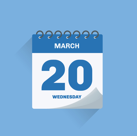 Vector illustration. Day calendar with date March 20. Illustration