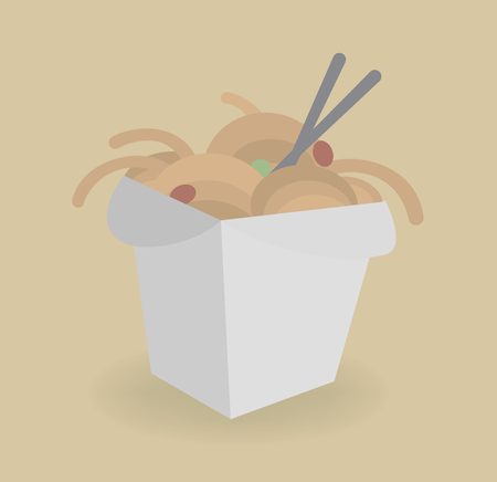 Vector illustration. Chinese noodles box and chopsticks. Take away food.