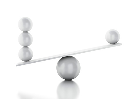 3d illustration. Spheres balancing on a seesaw. balance concept on white background.