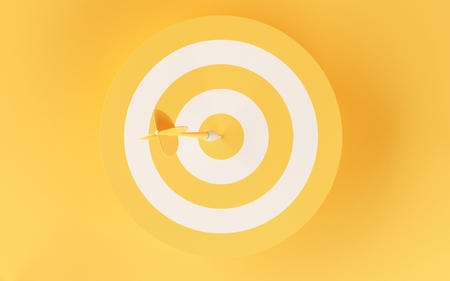 3d illustration. Target on yellow background. Success in business concept. Stock Photo