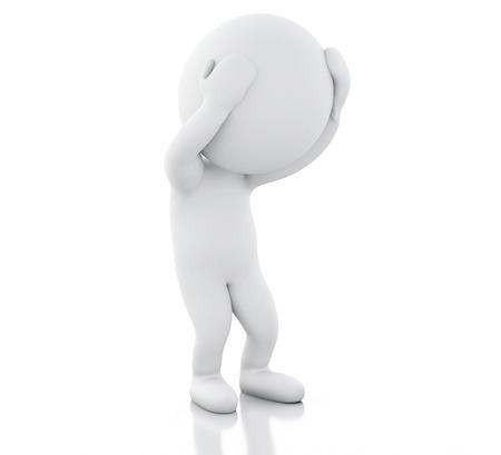 3D-Renderer-Abbildung. Weiße Menschen mit Kopfschmerzen. Stress-Konzept Isolierter weißer Hintergrund