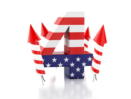 3d illustration. Text and rockets, 4 of july. American Independence Day. Isolated white background. Stock Photo