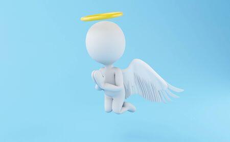 3D-Abbildung. Engel mit gelbem Heiligenschein auf hellblauem Hintergrund.