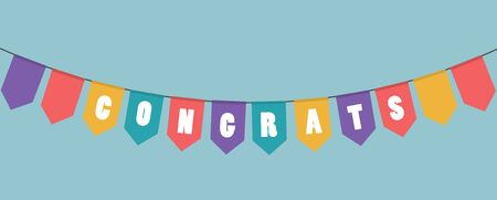 Vector illustration. Colorful decorative garlands with the word congrats. Reklamní fotografie