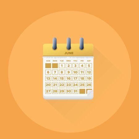Vector illustration. June month for 2019 Calendar